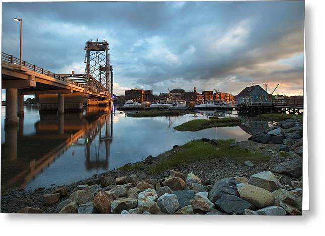 New England Village Greeting Cards - Golden Light in Portsmouth Greeting Card by Eric Gendron