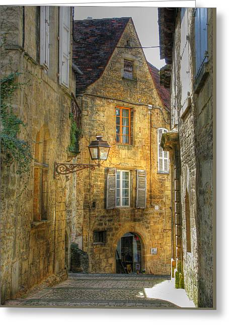 Back Alley Greeting Cards - Golden Light in Sarlat Greeting Card by Douglas J Fisher
