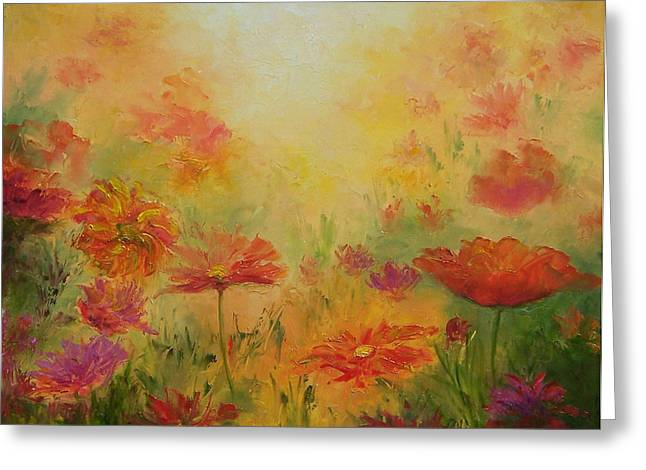 Poppies Greeting Cards - Golden Light - Poppies Greeting Card by Jan Matson