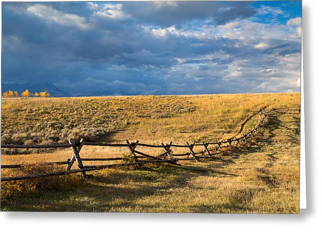 Bishop Hill Greeting Cards - Golden Light on a Stormy Prairie Greeting Card by Kathleen Bishop