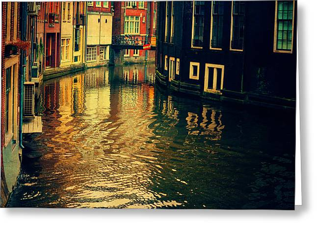 Bike Trip Greeting Cards - Golden Light on Amsterdam Canal Greeting Card by Jenny Rainbow