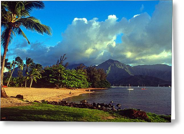 Hanalei Beach Greeting Cards - Golden Light on Hanalei Greeting Card by Kathy Yates