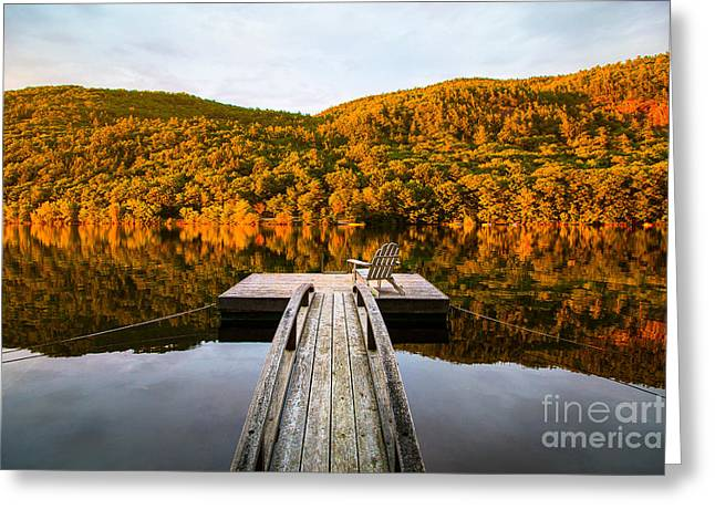 Ledge Photographs Greeting Cards - Golden Light on the Millerite Ledges above Lake Megunticook in C Greeting Card by Benjamin Williamson