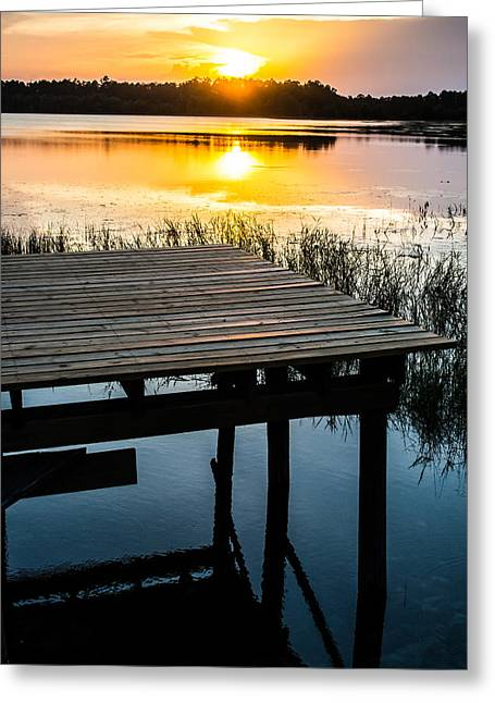 Cabin On A Lake Greeting Cards - Golden Light Greeting Card by Parker Cunningham