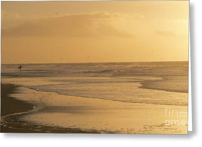 Affirmation Greeting Cards - Golden light surfer Greeting Card by Heidi Sieber