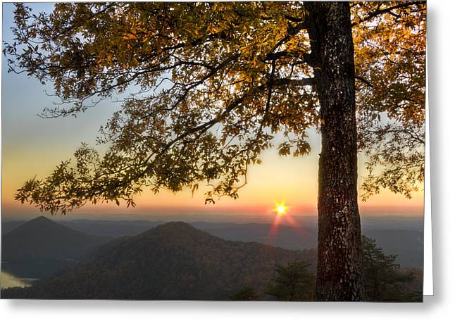 Tennessee River Greeting Cards - Golden Lights Greeting Card by Debra and Dave Vanderlaan