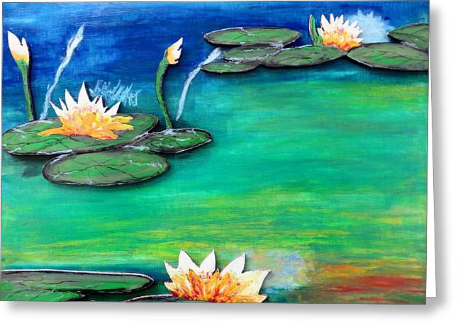 Lilly Pads Pastels Greeting Cards - Golden Lillies Greeting Card by Daniel Dubinsky