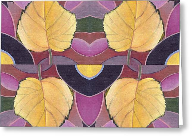 Fallen Leaf Mixed Media Greeting Cards - Golden I I - The Joy of Design X X I V Arrangement  Greeting Card by Helena Tiainen
