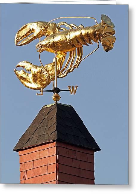 Weathervane Greeting Cards - Golden Lobster Weathervane Greeting Card by Juergen Roth