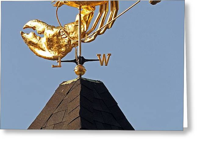 Golden Lobster Weathervane Greeting Card by Juergen Roth