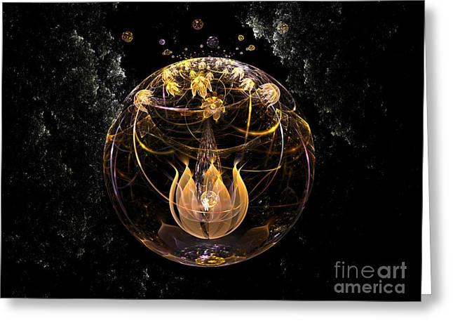 Golden Lotus In Deep Space Greeting Card by Peter R Nicholls
