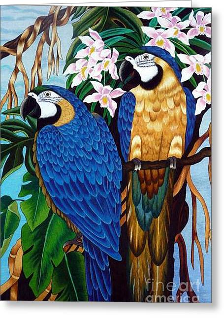 Totam Tapestries - Textiles Greeting Cards - Golden Macaw hand embroidery Greeting Card by To-Tam Gerwe