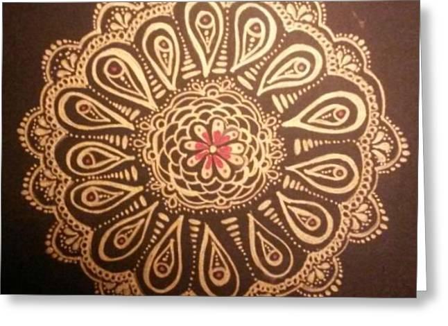 Golden Mandala Greeting Card by Lori Thompson
