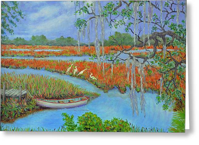 Recently Sold -  - Oak Creek Greeting Cards - Golden Marsh 2 Greeting Card by Dwain Ray