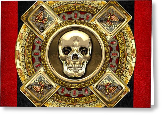 Mayan Mythology Greeting Cards - Golden Mictlantecuhtli - Aztec God of Death Greeting Card by Serge Averbukh