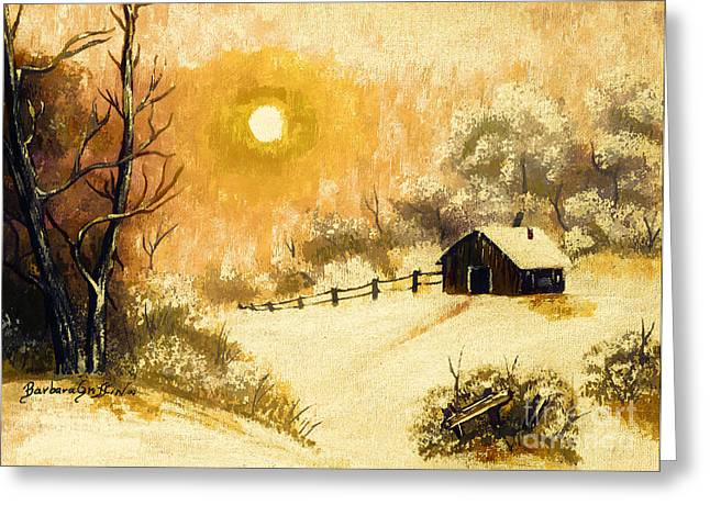 Snow On The Ground Greeting Cards - Golden Morning Greeting Card by Barbara Griffin