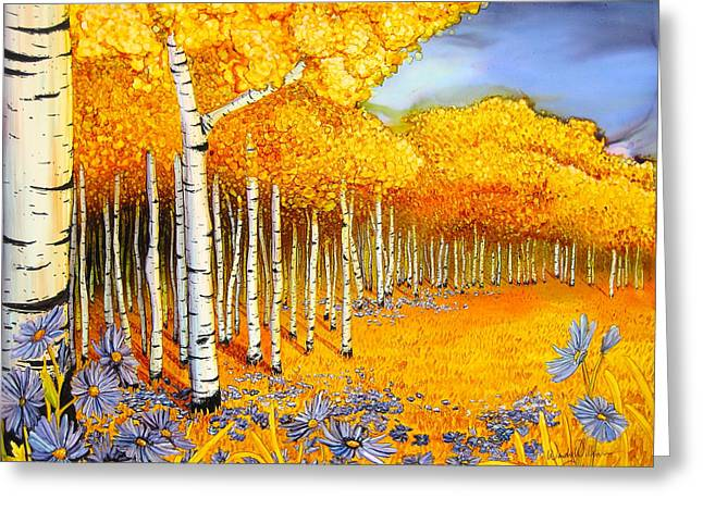 Asters Paintings Greeting Cards - Golden Morning Greeting Card by Wendy Wilkins