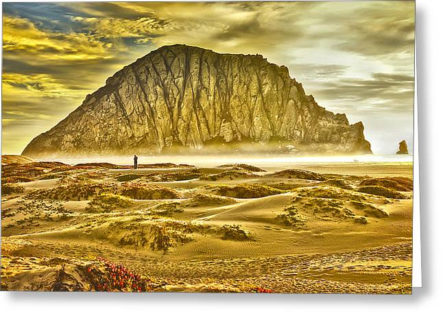 Morro Bay Greeting Cards - Golden Morro Bay Greeting Card by Camille Lopez