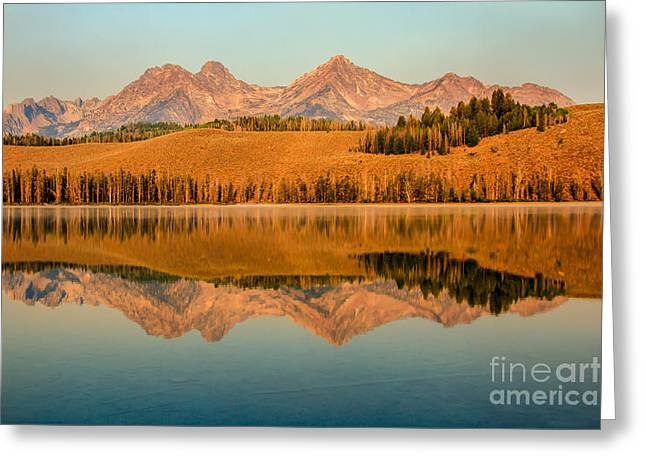 Haybale Photographs Greeting Cards - Golden Mountains  Reflection Greeting Card by Robert Bales