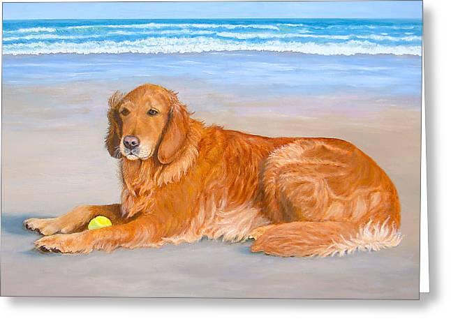 Golden Retriever Playing Ball Greeting Cards - Golden Murphy Greeting Card by Karen Zuk Rosenblatt