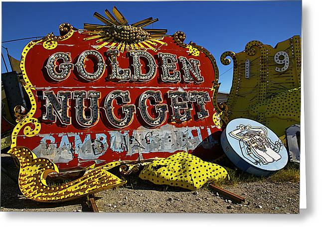Golden Greeting Cards - Golden Nugget Sign Greeting Card by Garry Gay
