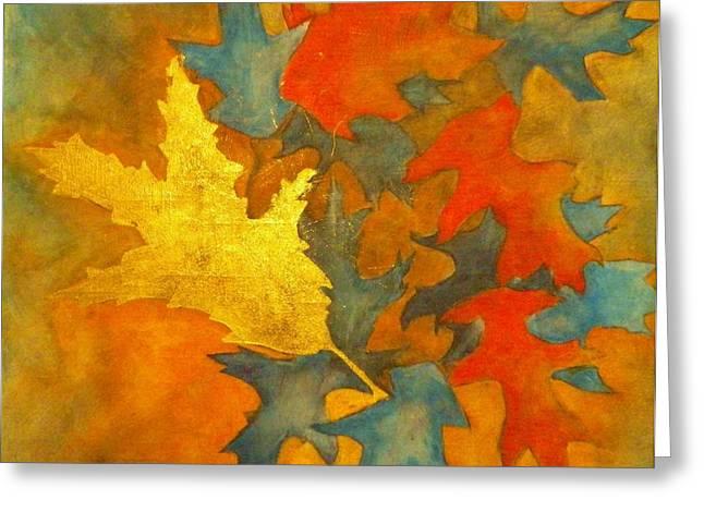 Fallen Leaf Mixed Media Greeting Cards - Golden Oak Greeting Card by David Raderstorf