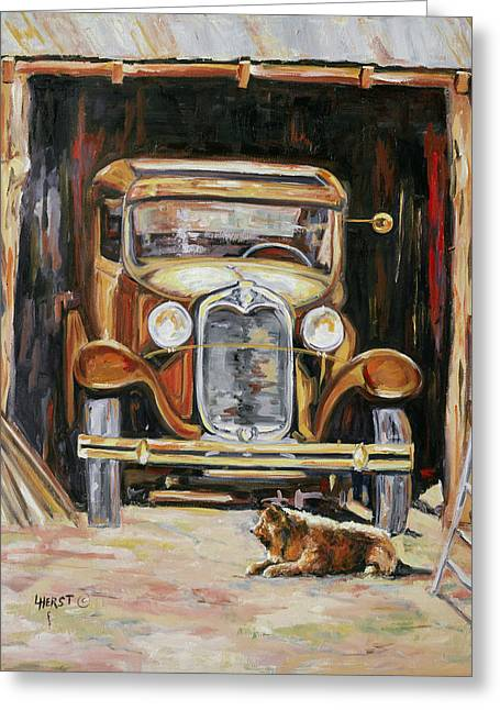 Ford Model T Car Paintings Greeting Cards - Golden Oldies Greeting Card by LC Herst