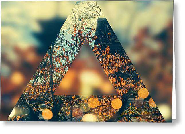 Golden Orange Fall Triangle Greeting Card by Beverly Claire Kaiya