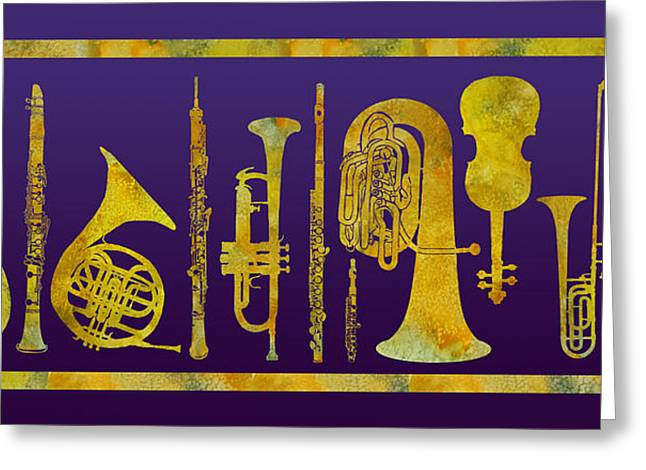 Double Bass Greeting Cards - Golden Orchestra Greeting Card by Jenny Armitage