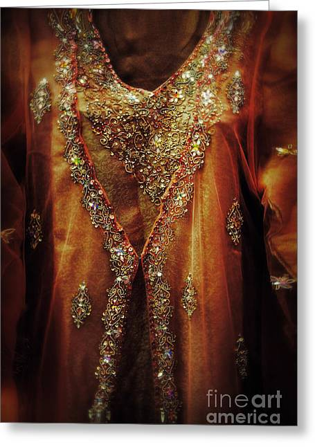 Sequin Greeting Cards - Golden oriental dress Greeting Card by Mythja  Photography