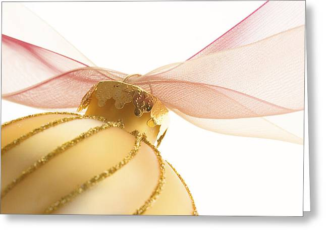 Holiday Decoration Greeting Cards - Golden Ornament with Red Ribbon High Key Greeting Card by Carol Leigh