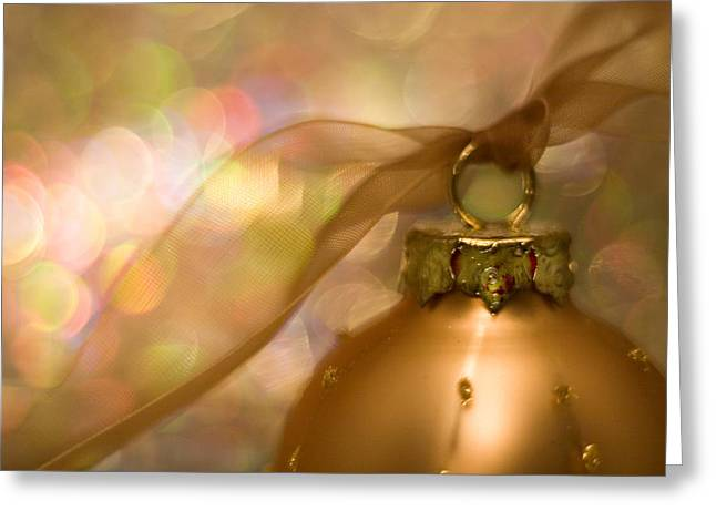 Holiday Decoration Greeting Cards - Golden Ornament with Ribbon Greeting Card by Carol Leigh