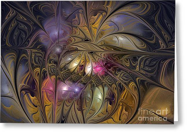 Large Sized Greeting Cards - Golden Ornamentations-Fractal Design Greeting Card by Karin Kuhlmann