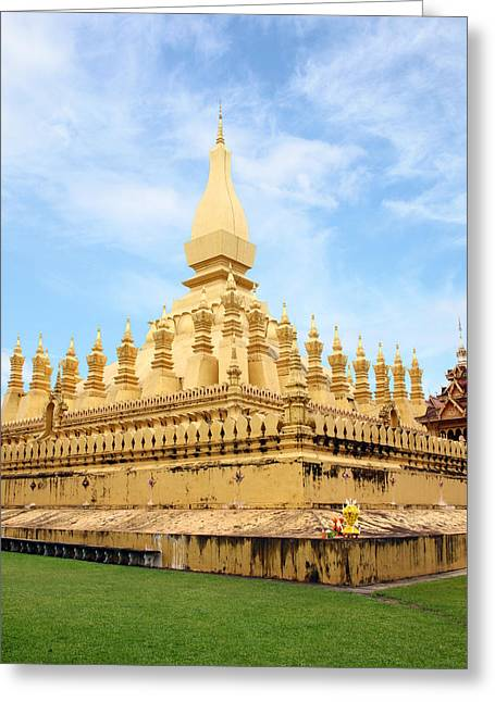 Pilgrimage Pyrography Greeting Cards - Golden pagada in Pha-That Luang temple Greeting Card by Thanapol Kuptanisakorn