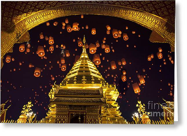 Bangkok Greeting Cards - Golden pagoda and yeepeng  Greeting Card by Anek Suwannaphoom