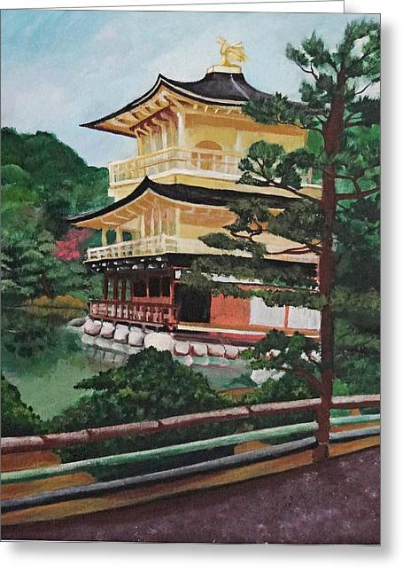 Bamboo House Greeting Cards - Golden Pavilion Greeting Card by Michelle Erin Dominado