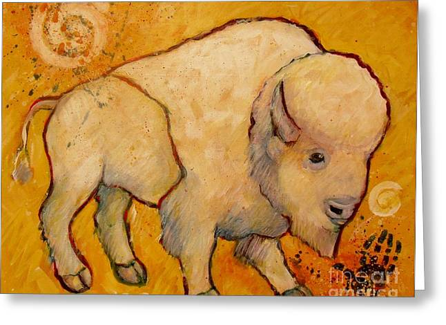 Tatanka Greeting Cards - Golden Peace White Buffalo Greeting Card by Carol Suzanne Niebuhr