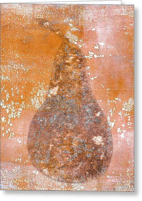 Brown Pears Greeting Cards - Golden Pear Pink Monoprint Greeting Card by Carol Leigh