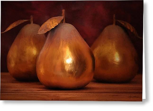 Pears Greeting Cards - Golden Pears I Greeting Card by April Moen