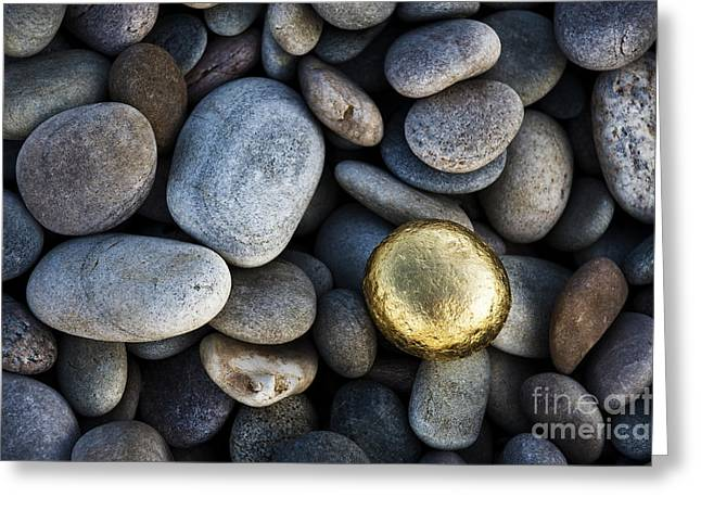 Pebbles Greeting Cards - Golden Pebble Greeting Card by Tim Gainey