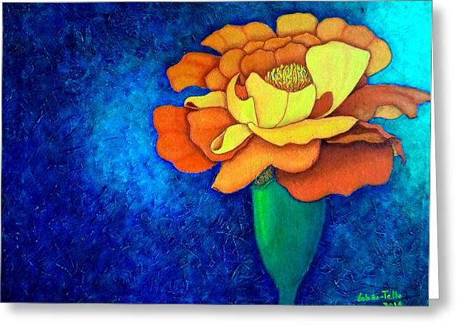 Madalena Lobao-tello Greeting Cards - Golden petals  Greeting Card by Madalena Lobao-Tello