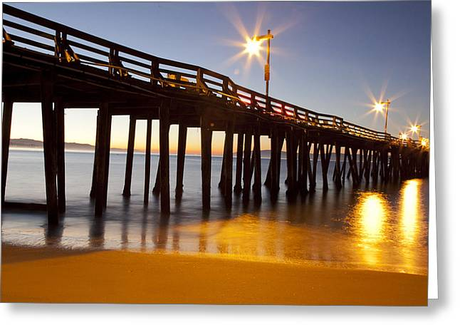 Santa Cruz Pier Greeting Cards - Golden Pier Greeting Card by Candice Armit