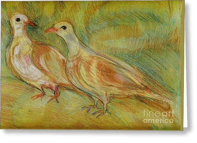 Dove Pastels Greeting Cards - Golden Pigeons Greeting Card by Anna Yurasovsky