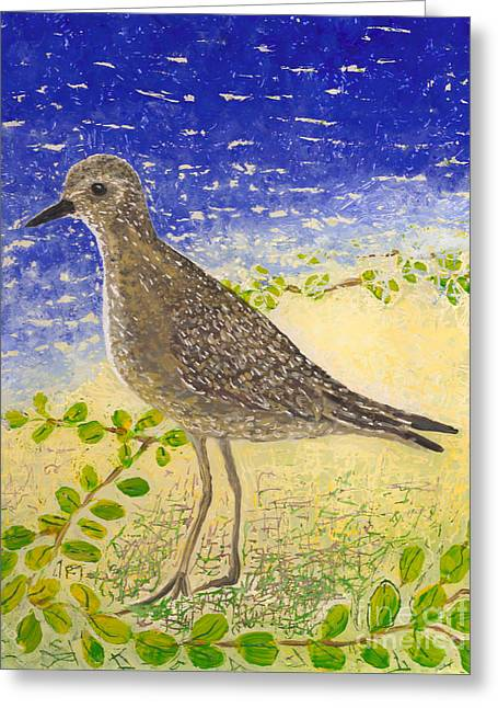 Fauna Glass Art Greeting Cards - Golden Plover Greeting Card by Anna Skaradzinska