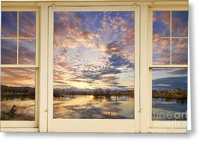 Window Frame Greeting Cards - Golden Ponds Scenic Sunset Reflections 4 Yellow Window View Greeting Card by James BO  Insogna
