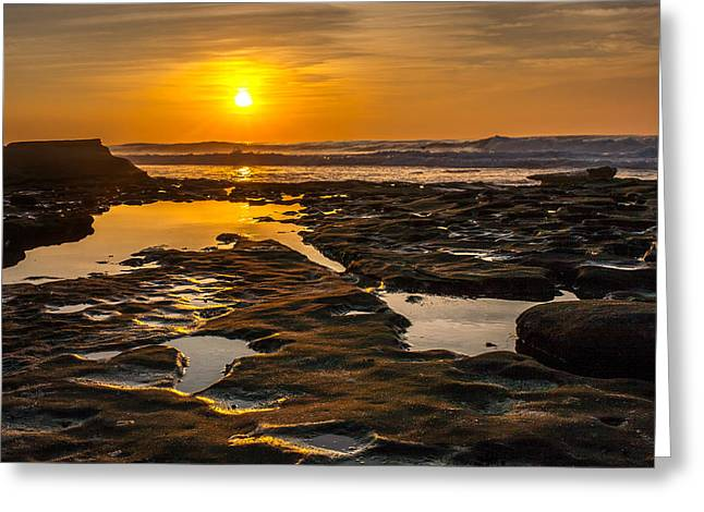 California Beach Image Greeting Cards - Golden Pools Greeting Card by Peter Tellone