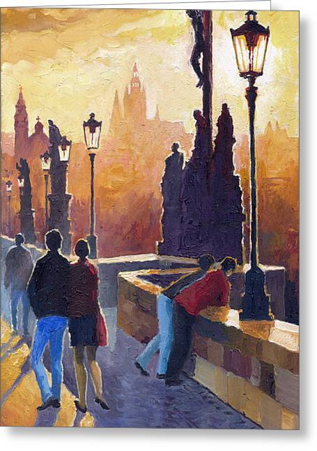 Charles Bridge Paintings Greeting Cards - Golden Prague Charles Bridge Greeting Card by Yuriy Shevchuk