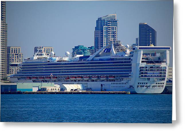 San Diego Harbor Cruise Greeting Cards - Golden Princess Greeting Card by See My  Photos