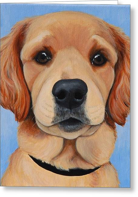 Custom Commissioned Pet Portrait From Photos Greeting Cards - Golden Puppy Greeting Card by Lauren Hammack