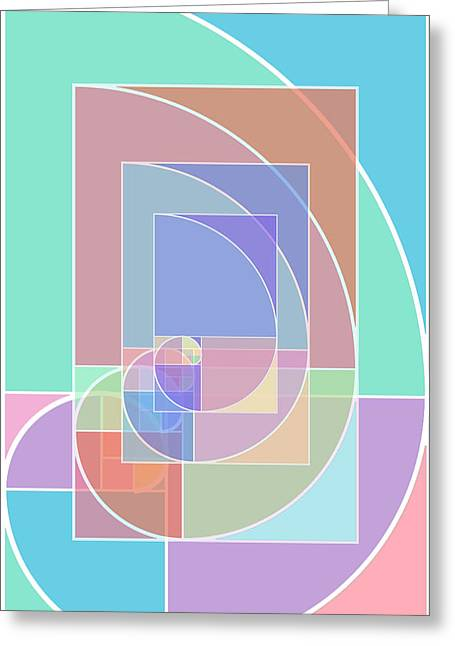 Salmon Mixed Media Greeting Cards - Golden Ratio Abstract Greeting Card by Tony Rubino